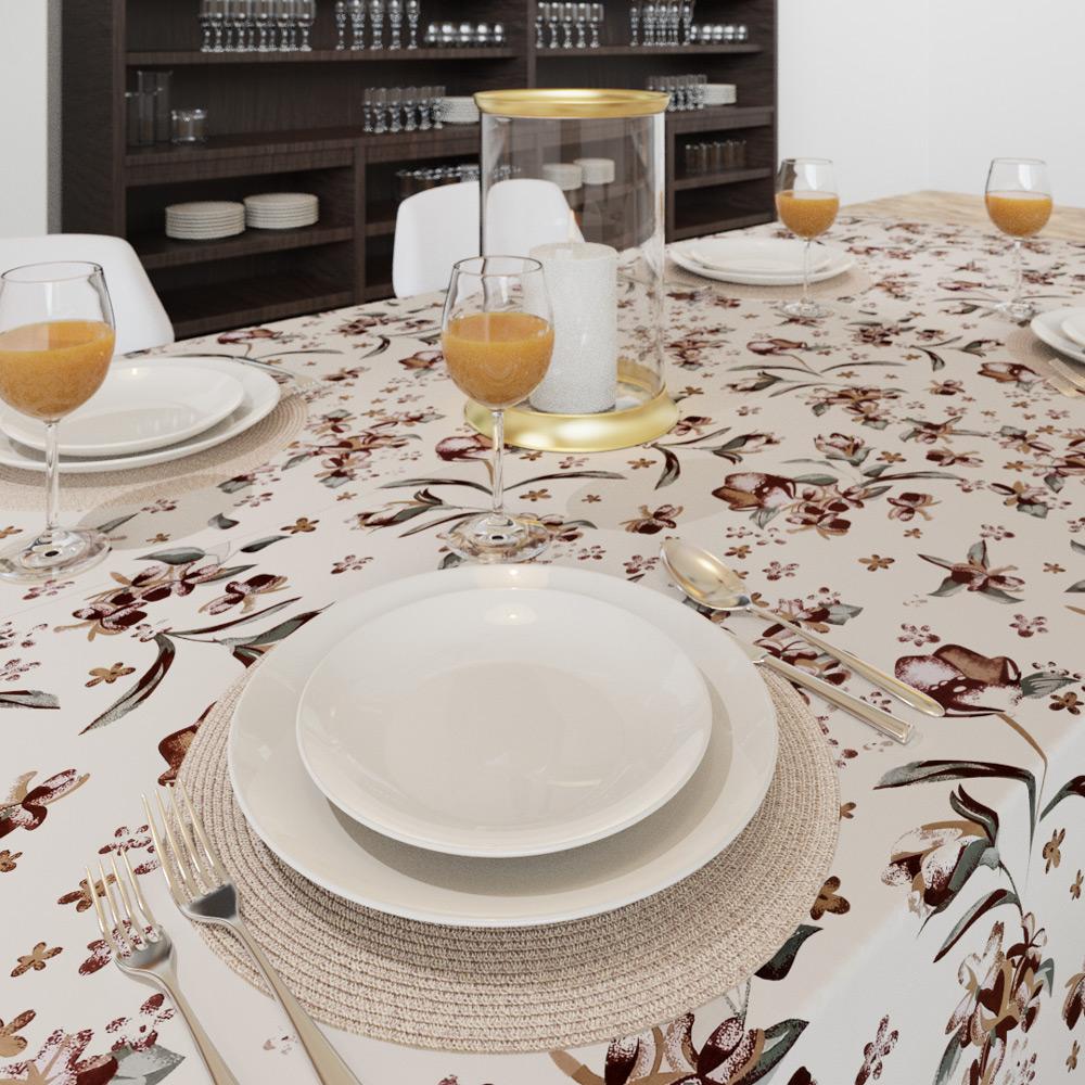 Toalha de Mesa Bege Quadrada 8 Lugares Estampada com Flores Marrons