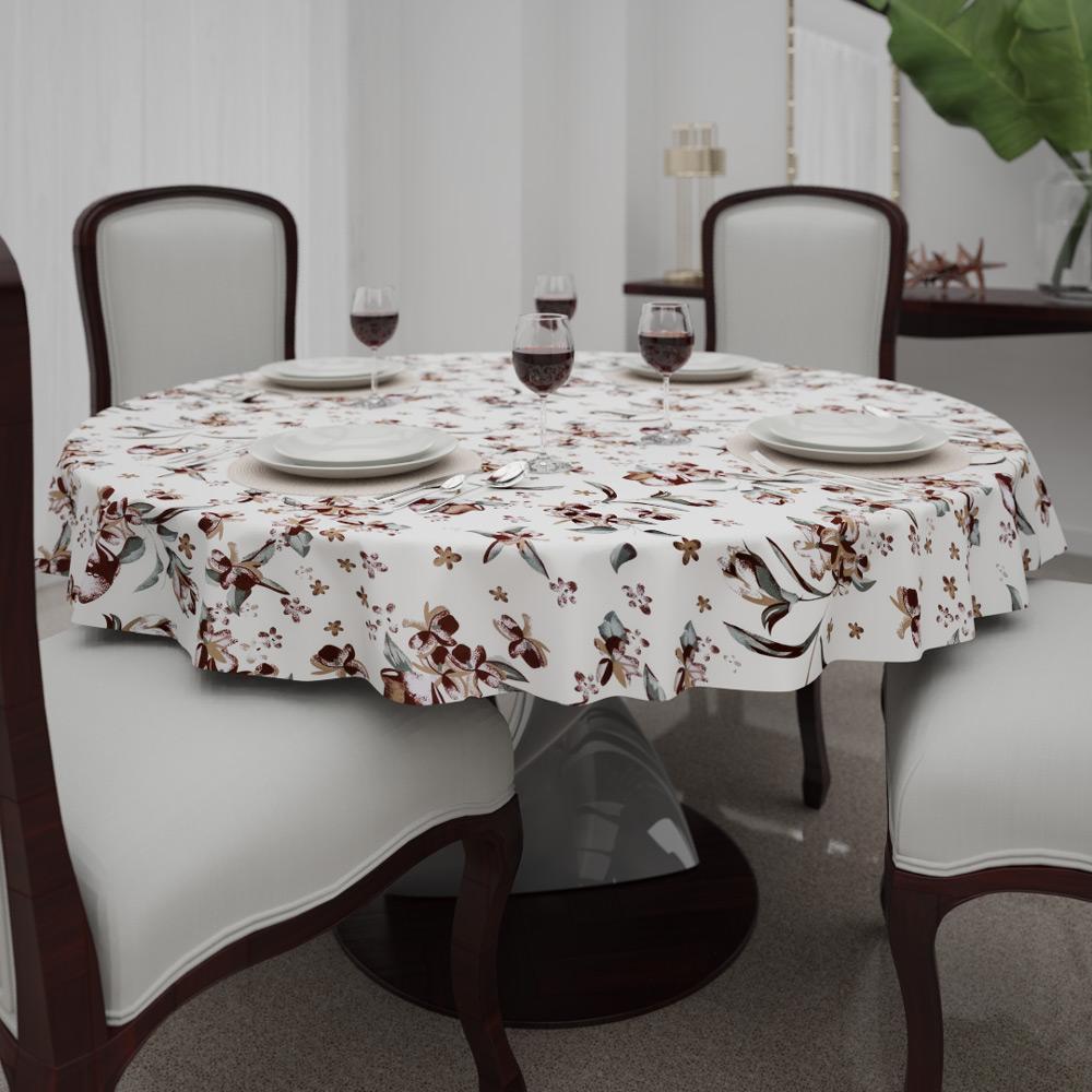 Toalha de Mesa Bege Redonda6 Lugares com Flores Marrons