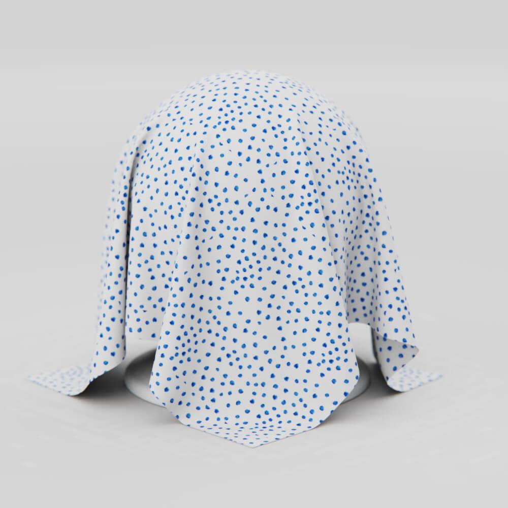 Toalha de Mesa Branca com Azul  Retangular 6 Lugares Poá Estilo