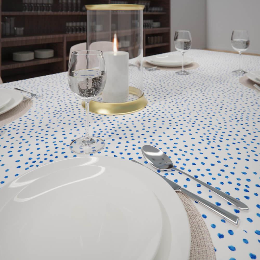 Toalha de Mesa Branca com Azul Retangular 8 Lugares Poá Estilo