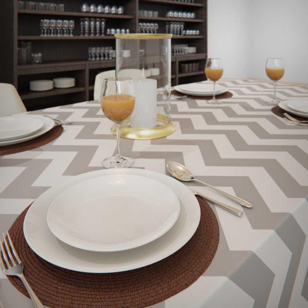 Toalha de Mesa Branca com Cinza 6 Lugares Quadrada Zig Zag