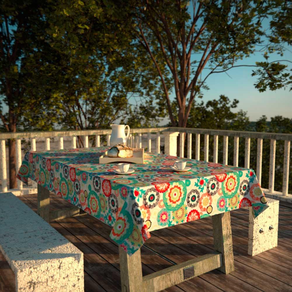 Toalha de Mesa Branca Floral Impermeável Retangular 6 Lugares