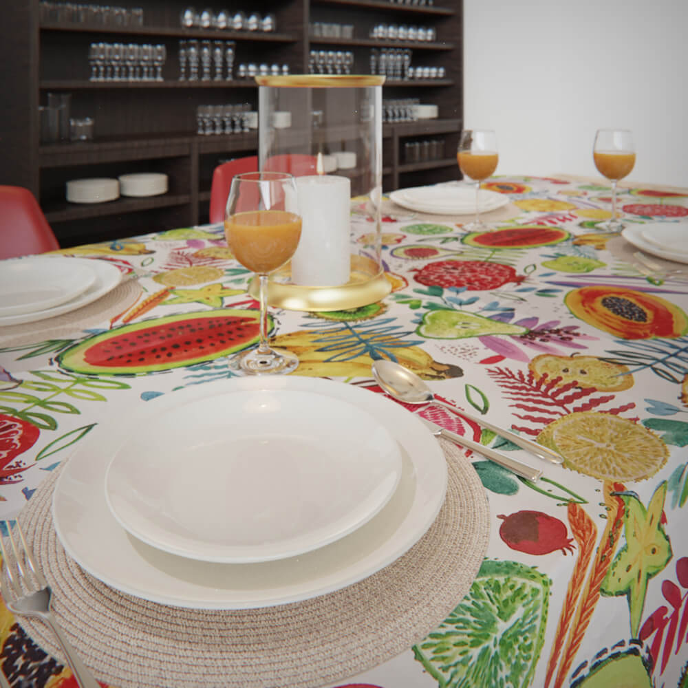 Toalha de Mesa Branca Impermeável Retangular 6 Lugares Tutti Frutti