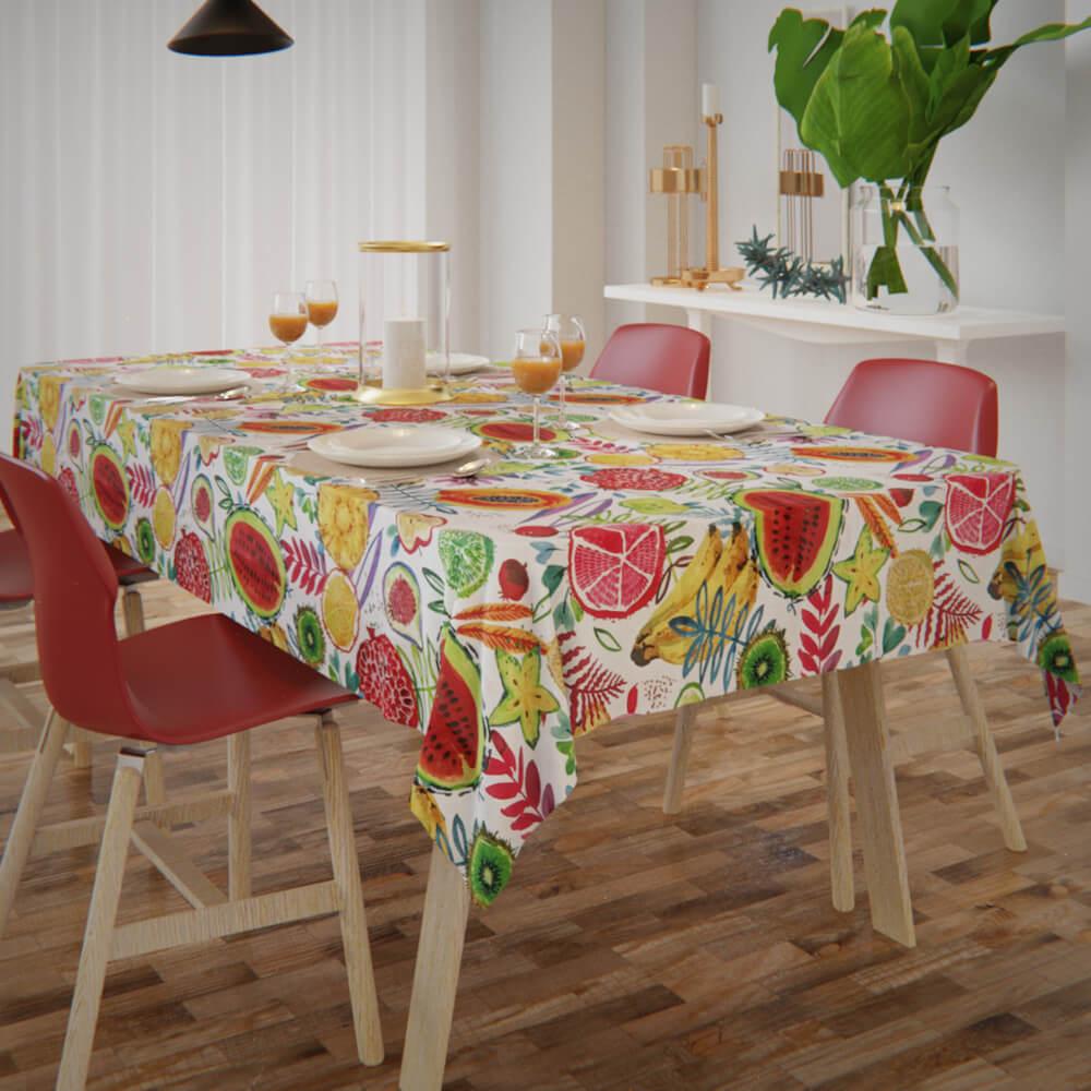 Toalha de Mesa Branca Impermeável Retangular 8 Lugares Tutti Frutti