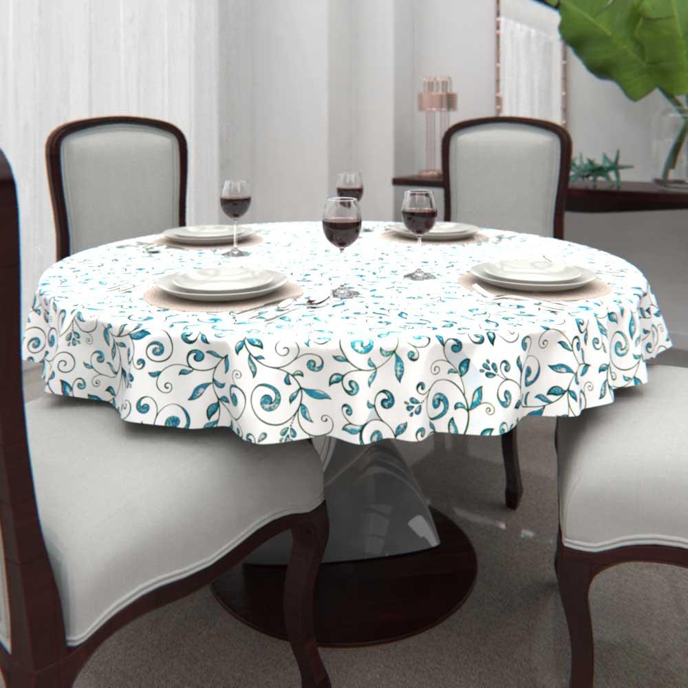 Toalha de Mesa Branca Redonda6 Lugarescom Folhas Verdes