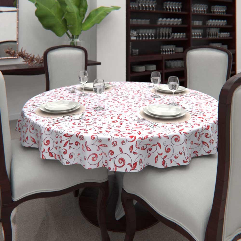 Toalha de Mesa Branca Redonda6 Lugarescom Folhas Vermelhas