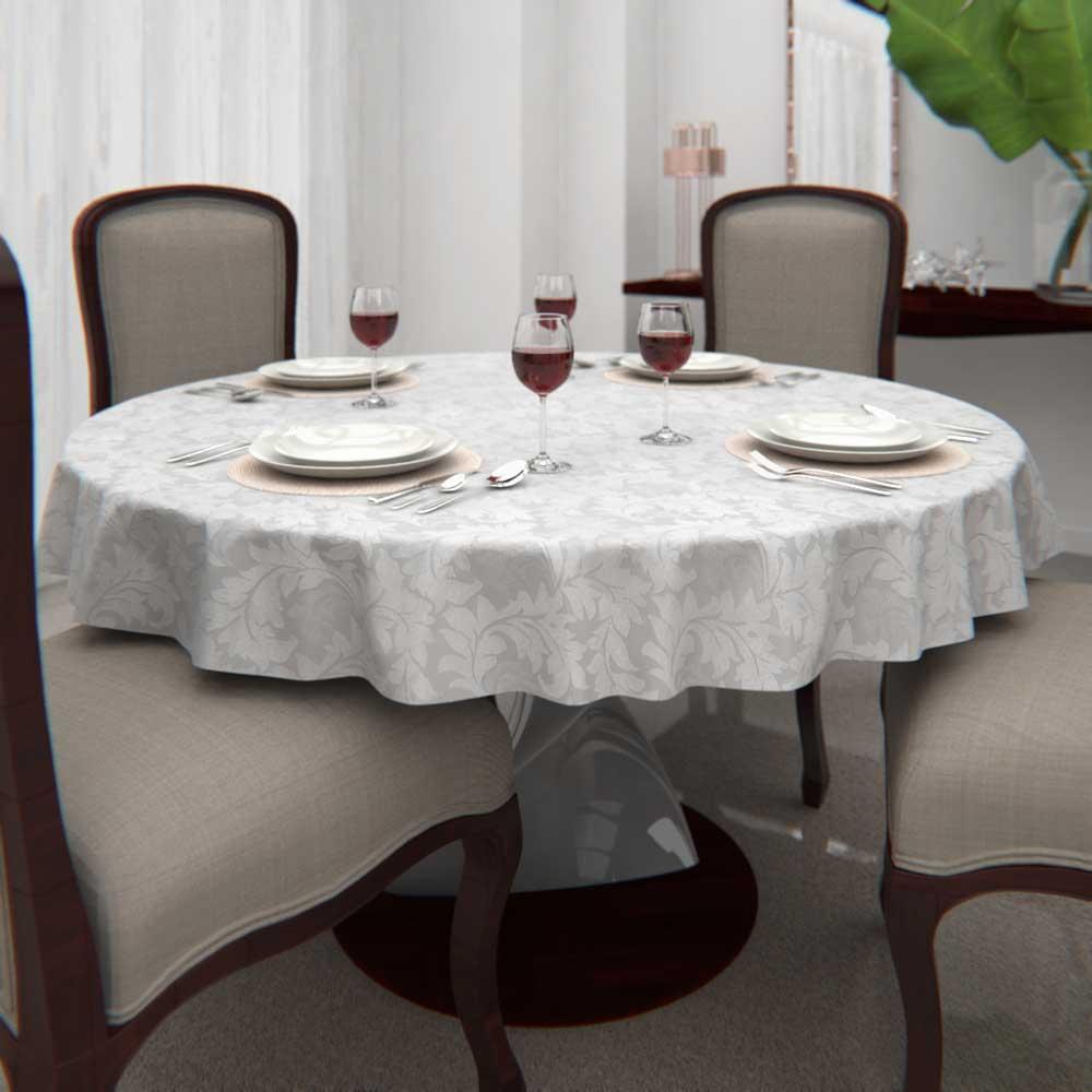 Toalha de Mesa Branca 4 Lugares Redonda Jacquard com Arabesco