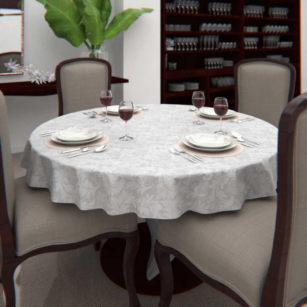 Toalha de Mesa Branca 6 Lugares Redonda Jacquard com Arabesco