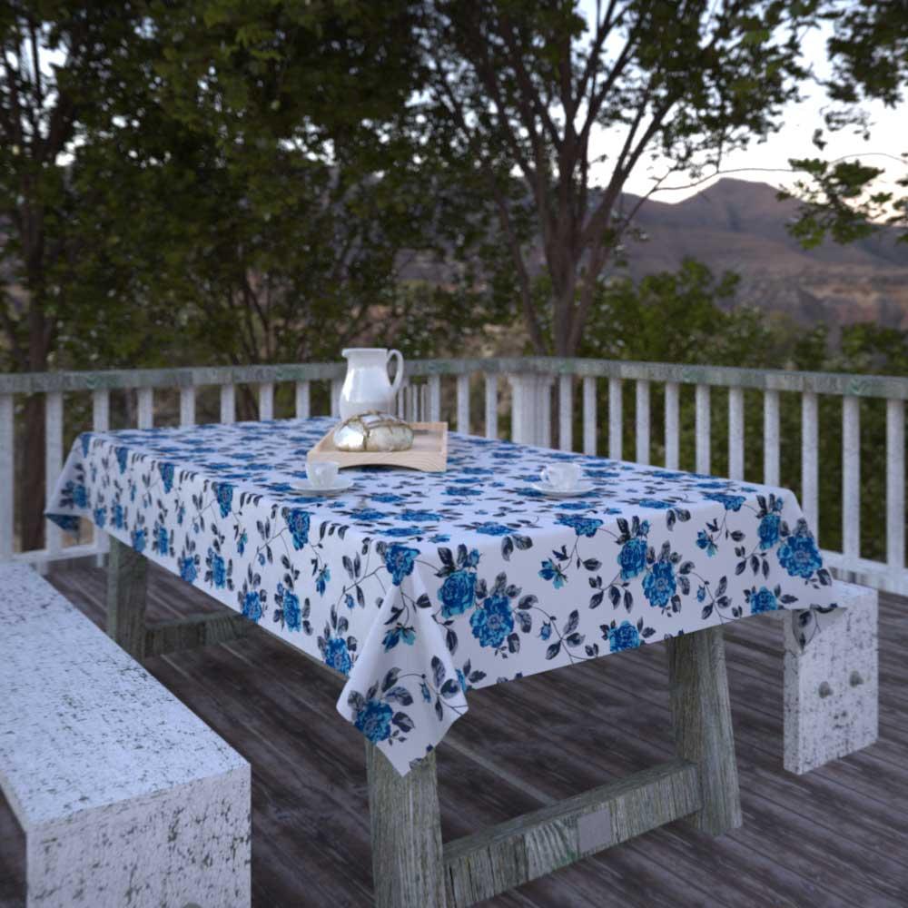 Toalha de Mesa Branca Retangular 10 Lugares Floral Estampada