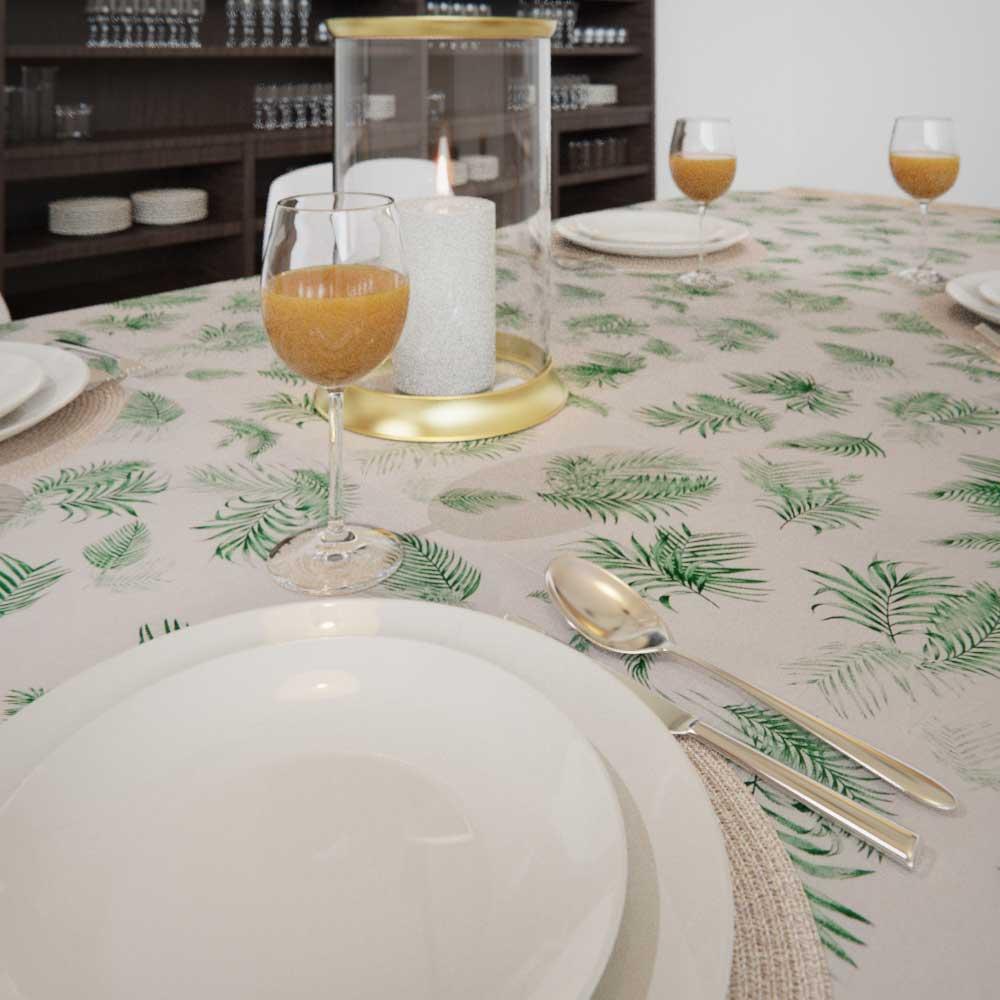 Toalha de Mesa Branca Retangular 4 Lugares Folhas de Palmeiras