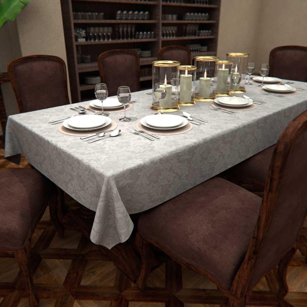 TOALHA DE MESA BRANCA RETANGULAR 6 LUGARES COM ARABESCOS JACQUARD 1,35 x 1,80