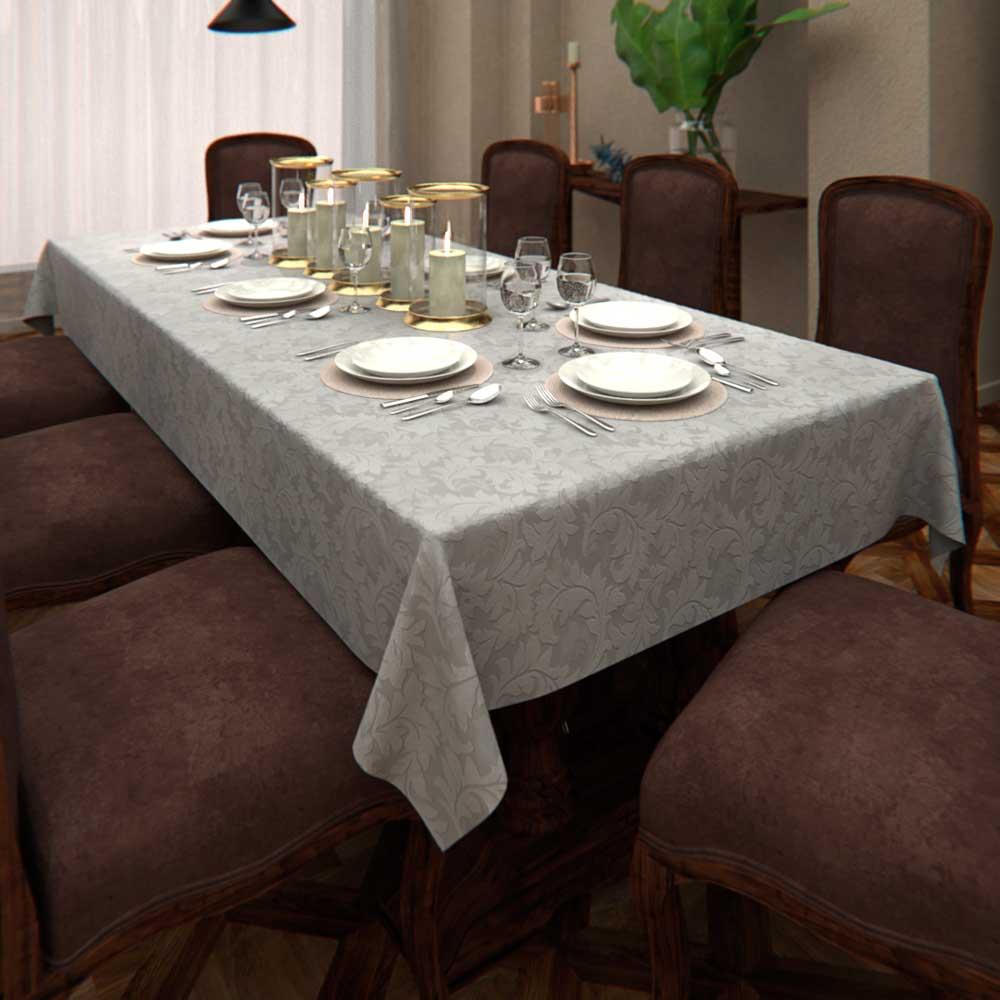 Toalha de Mesa Branca Retangular 8 Lugares com Arabescos Jacquard