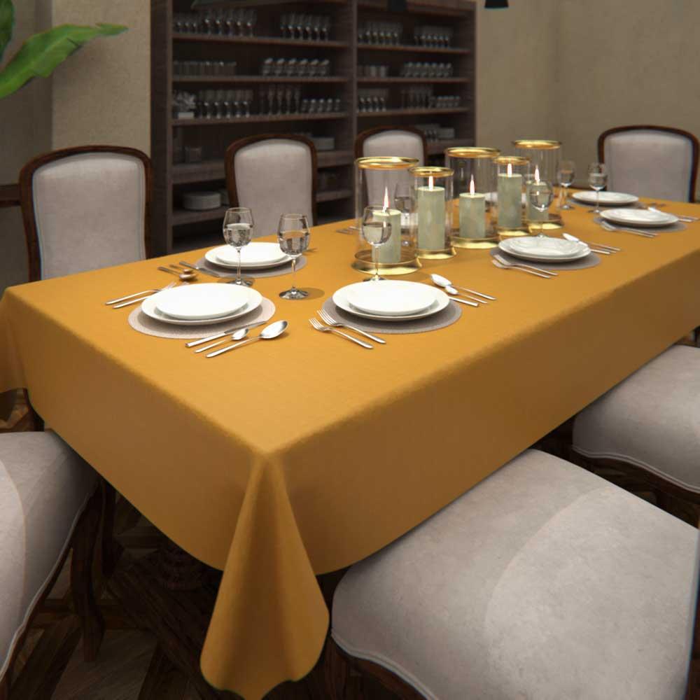Toalha de Mesa de Linho Amarela Retangular 8 Lugares Ocre