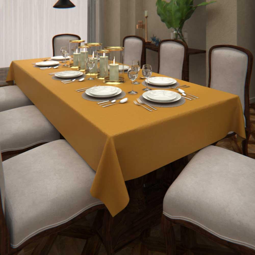 Toalha de Mesa de Linho Amarelo Retangular 6 Lugares Ocre