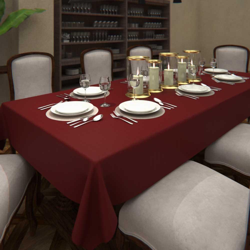 Toalha de Mesa de Linho Cor de Vinho Retangular 6 Lugares