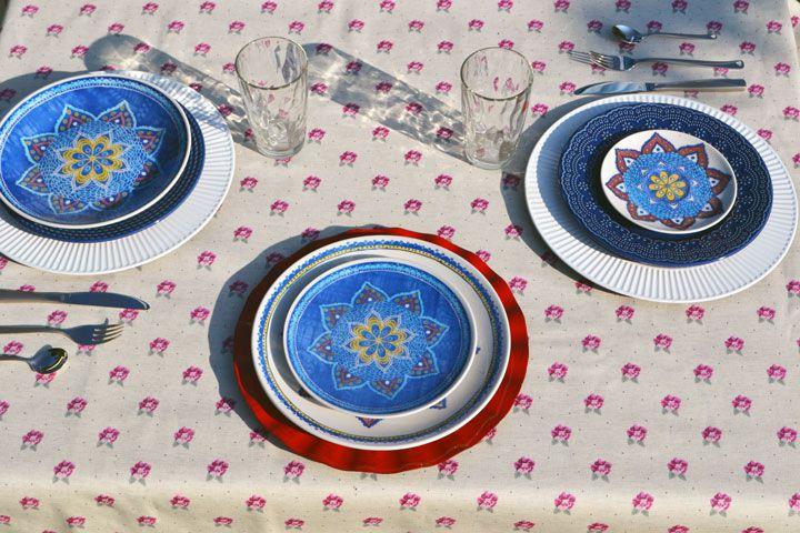 Toalha de Mesa de Linho Quadrada 4 Lugares Floral Nobre