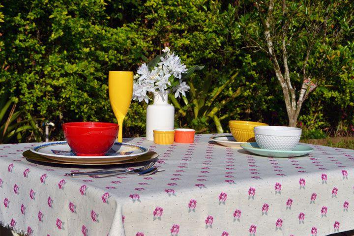 Toalha de Mesa de Linho Retangular 8 Lugares Retangular Floral Nobre