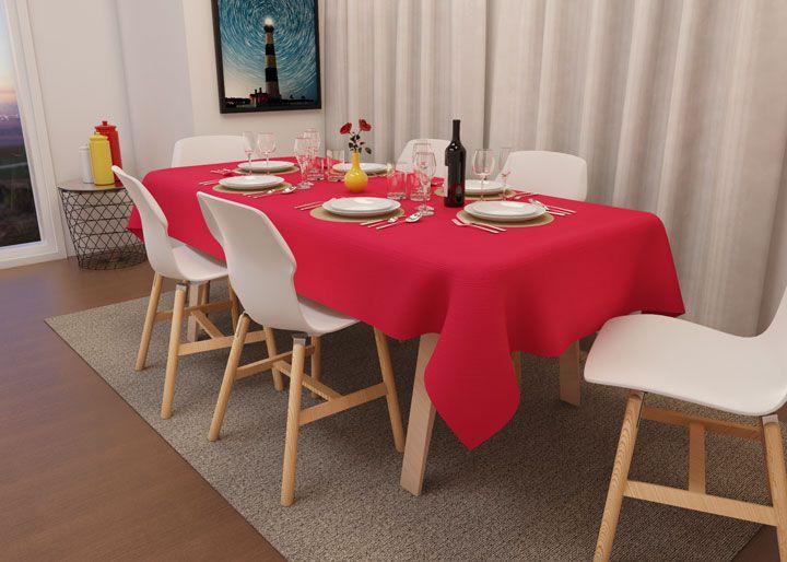 Toalha de Mesa de Natal Vermelha Quadrada 6 Lugares Oxford