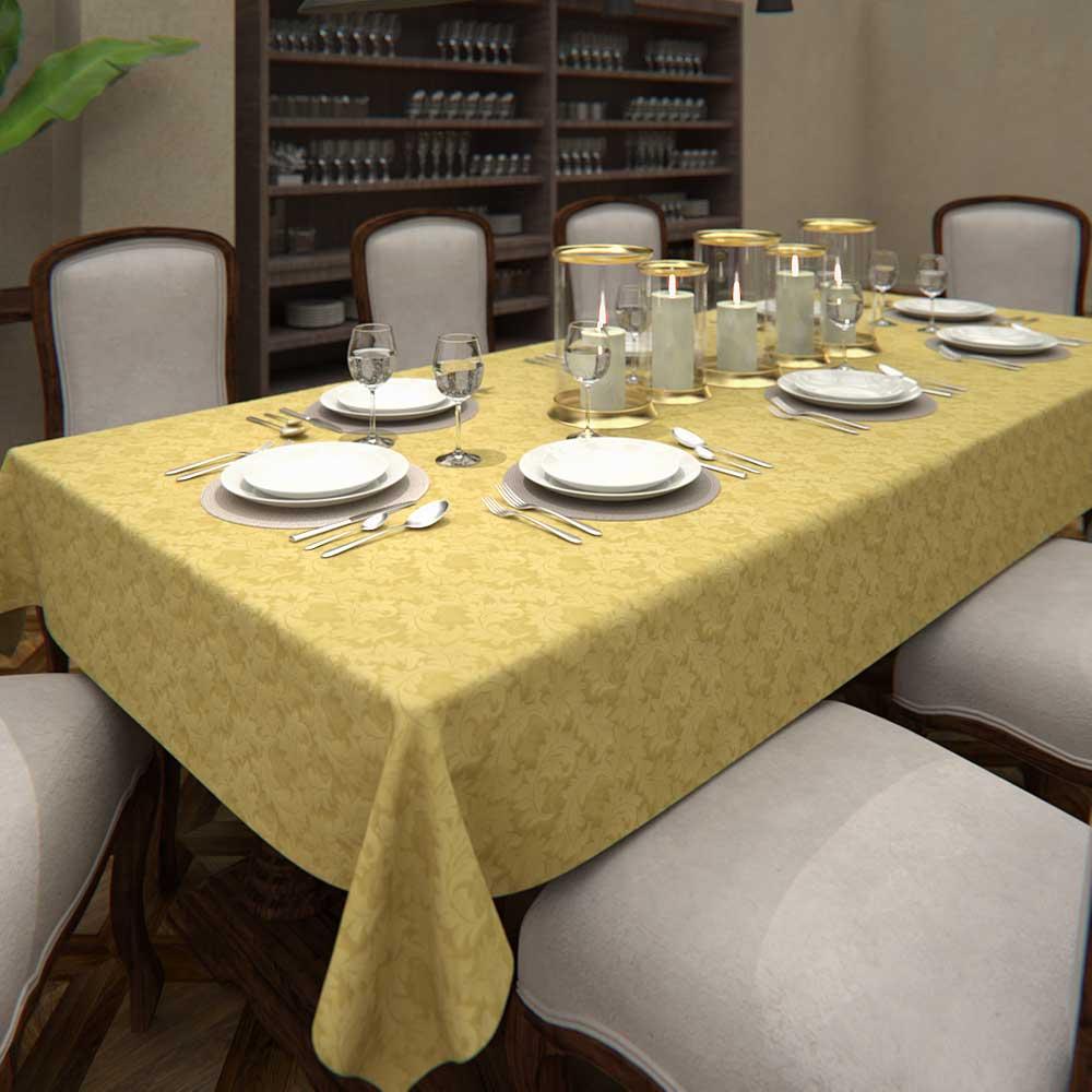Toalha de Mesa Dourada 6 Lugares Quadrada Arabesco Jacquard