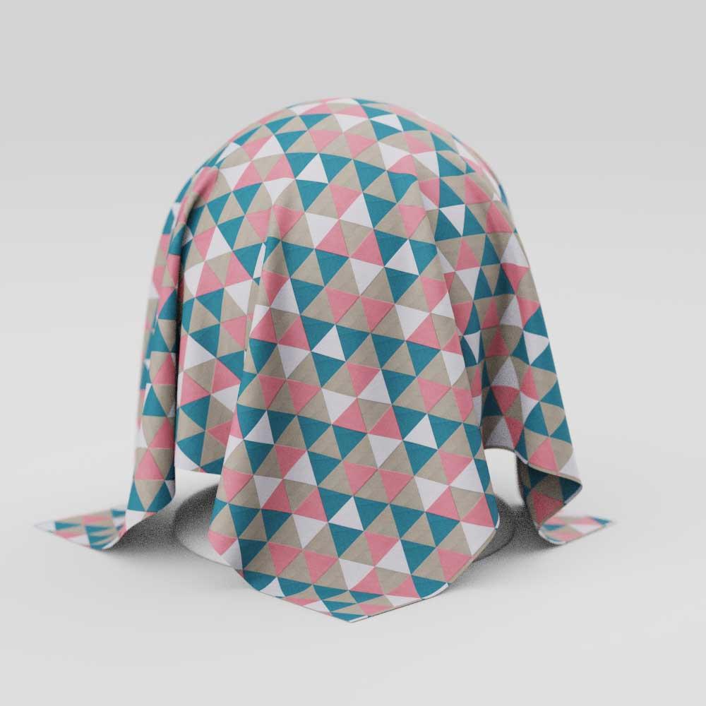 Toalha de Mesa Geométrica Retangular 8 Lugares com Triângulos Coloridos