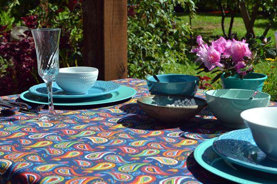 Toalha de Mesa Indiana 10 Lugares Azul Retangular