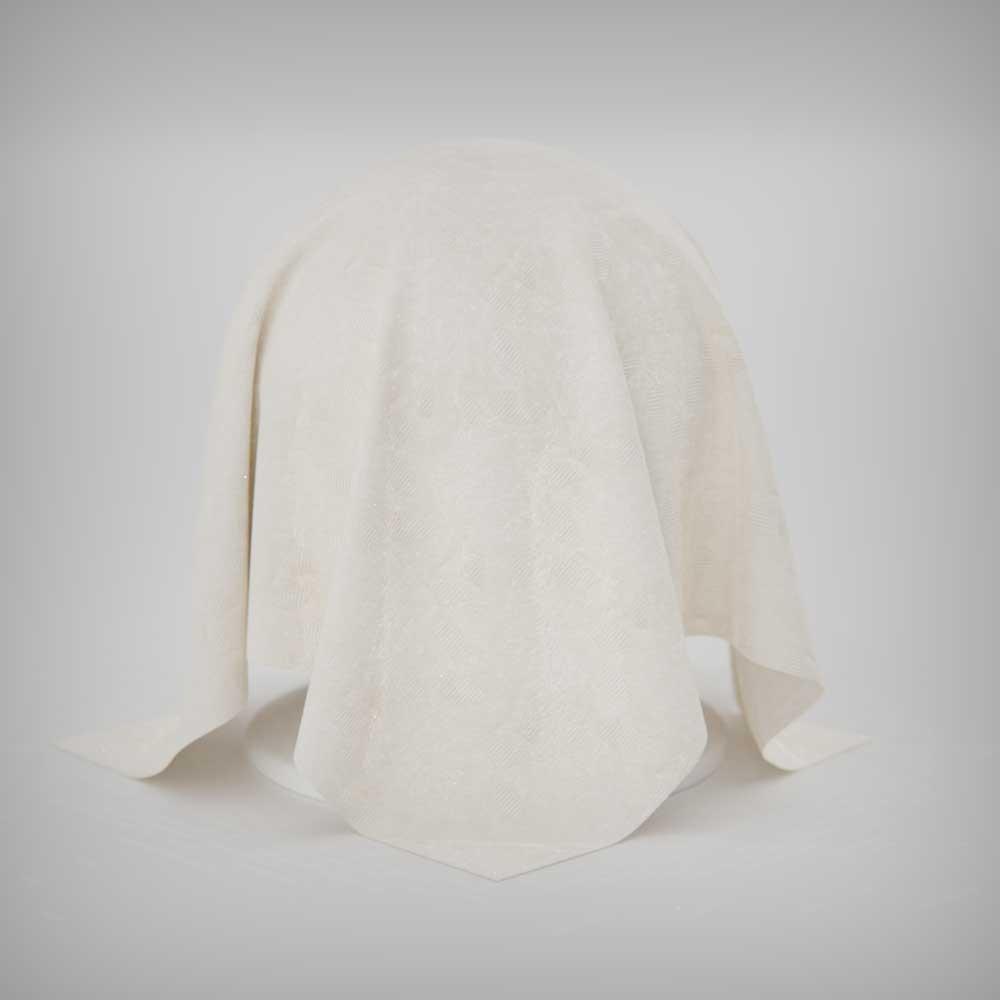 Toalha de Mesa Jacquard Off White Retangular Sob Medida