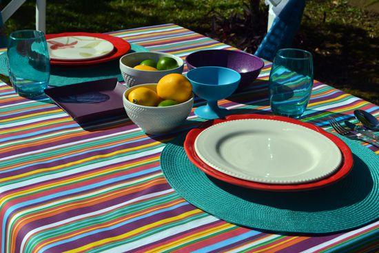 Toalha de Mesa Listrada 10 Lugares Retangular Colores