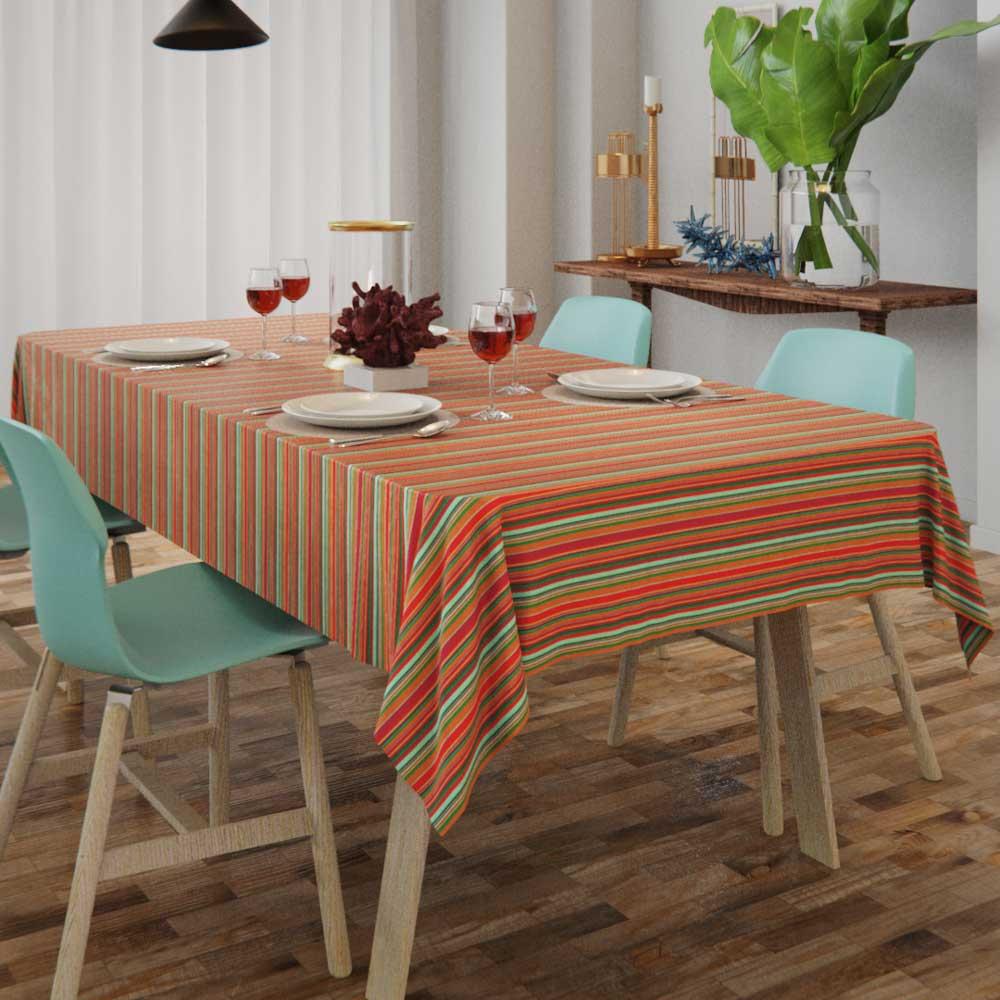 Toalha de Mesa Listrada Colorida 4 Lugares Quadrada Colores