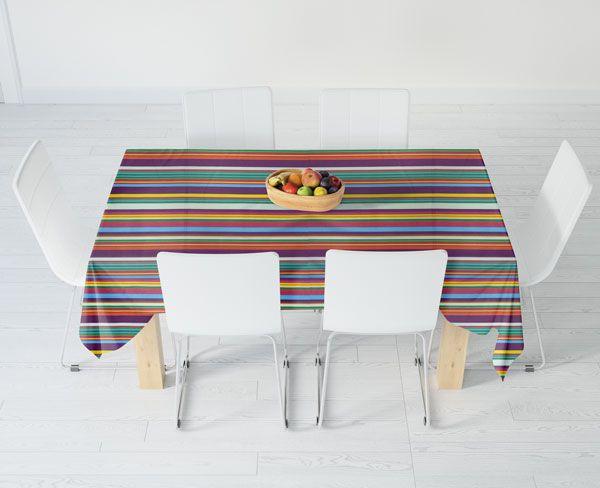 Toalha de Mesa Listrada 4 Lugares Retangular Colores