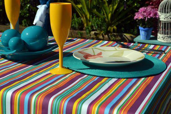 Toalha de Mesa Listrada 6 Lugares Retangular Colores