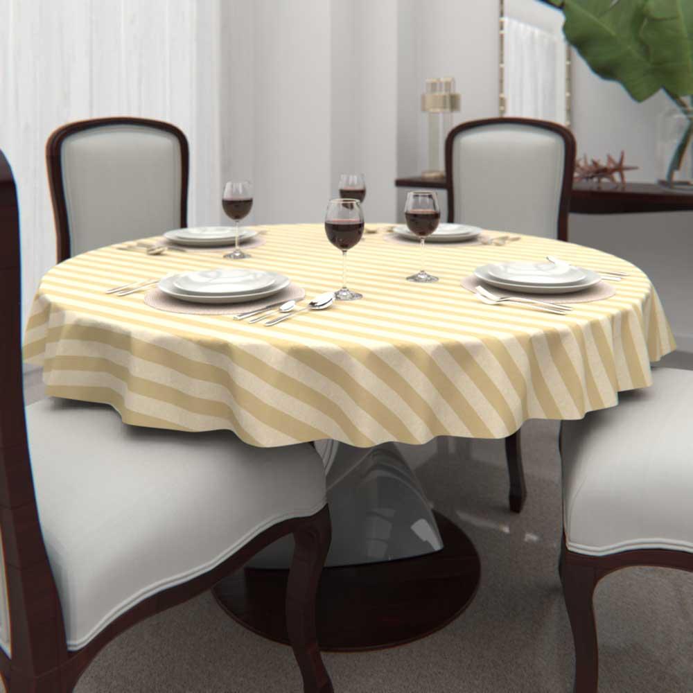 Toalha de Mesa Listrada Dourada Redonda 6 Lugares Jacquard