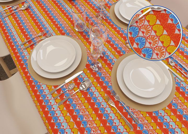 Toalha de Mesa Listrada Retangular 10 Lugares Corações Coloridos