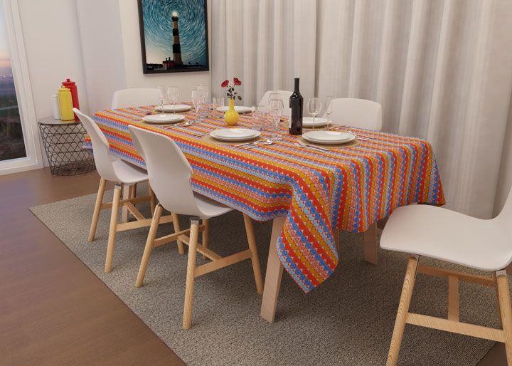 Toalha de Mesa Listrada Retangular 4 Lugares Corações Coloridos