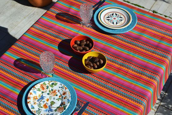 Toalha de Mesa Listrada Retangular 6 Lugares Africana