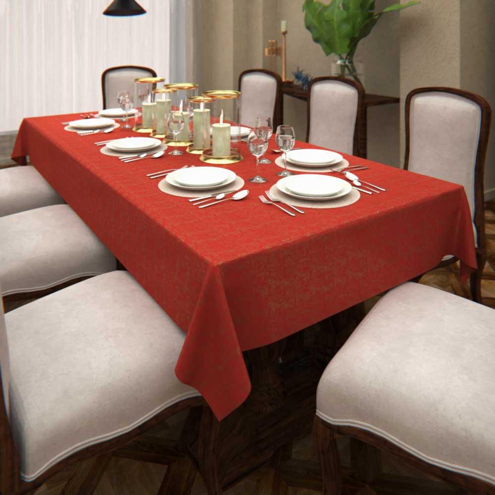 Toalha de Mesa Natalina Vermelha Retangular 10 Lugares Poeira Dourada