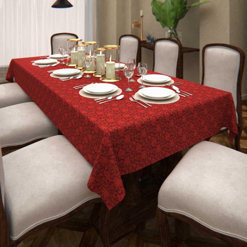 Toalha de Mesa Natalina Vermelha Retangular 8 Lugares Folhas com Dourado