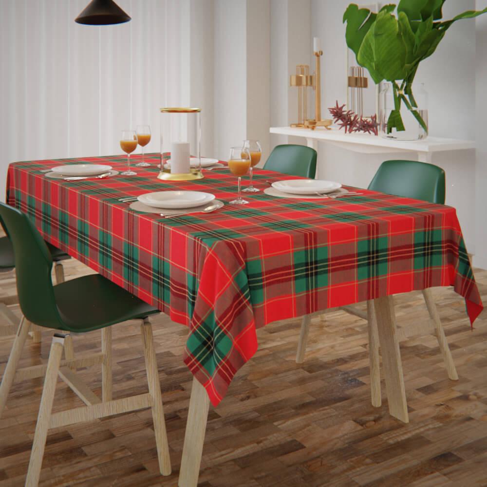 Toalha de Mesa Natalina Xadrez Vermelho com Verde Retangular 10 Lugares