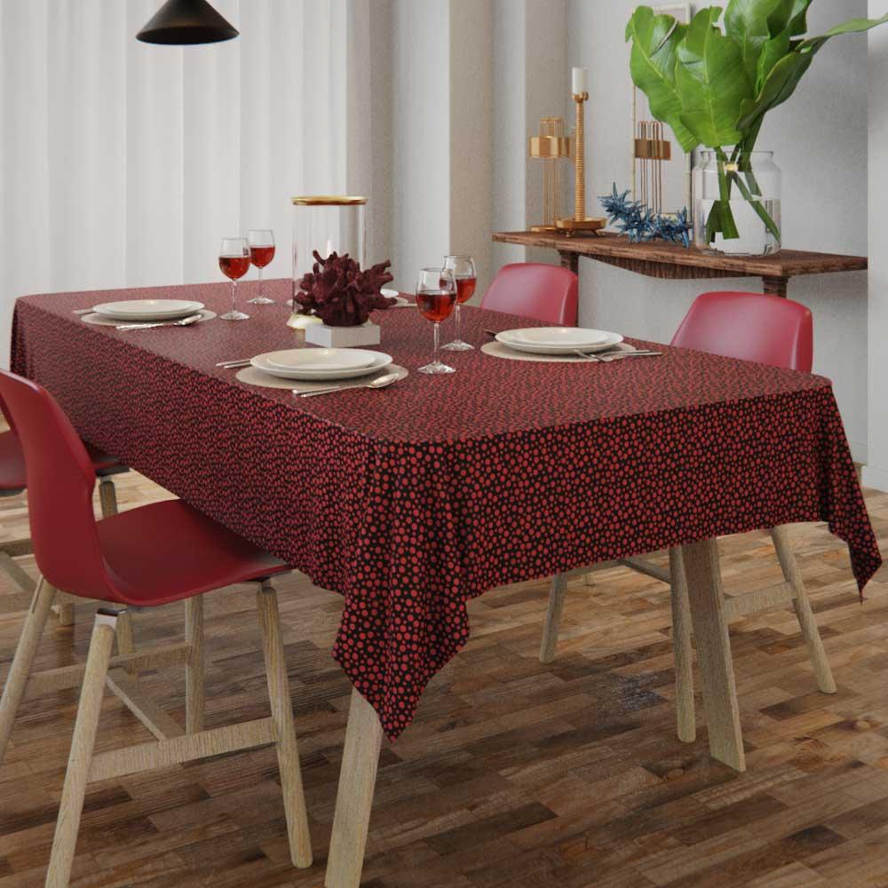 Toalha de Mesa Preta com Bolinhas Vermelhas Retangular 4 Lugares