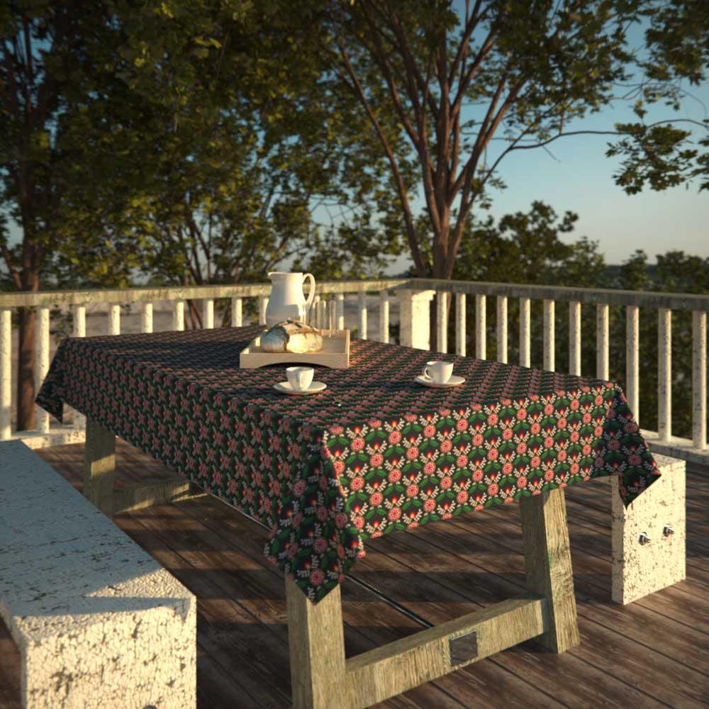 Toalha de Mesa Preta Retangular 6 Lugares Mandalas Florais