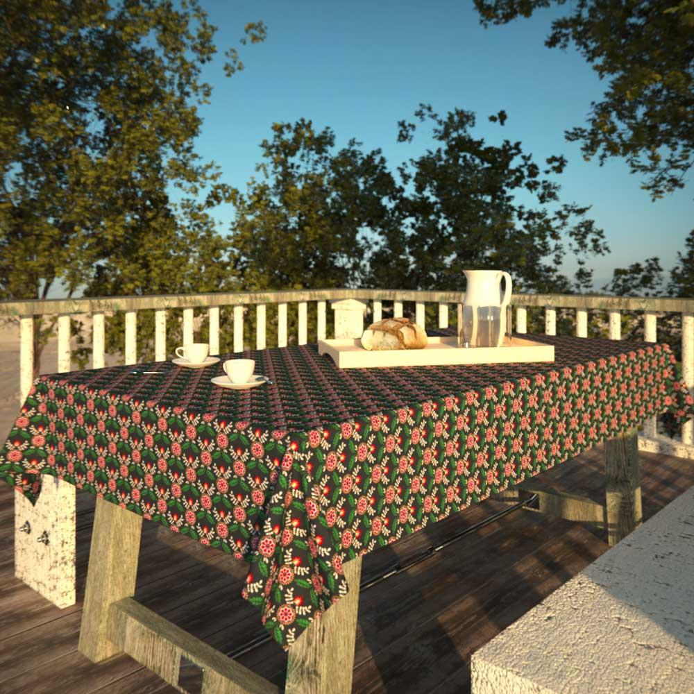 Toalha de Mesa Preta Retangular 8 Lugares Mandalas Florais