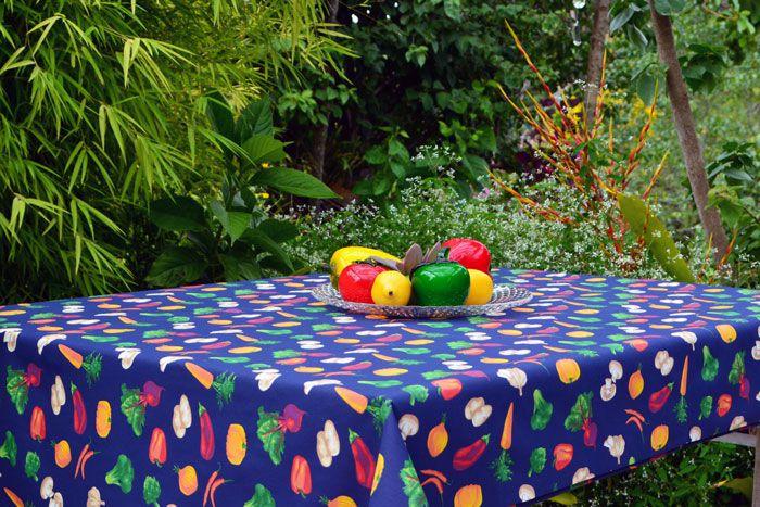 Toalha de Mesa Quadrada 4 Lugares Azul Vegetais