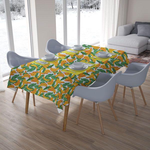 Toalha de Mesa Quadrada 4 Lugares Bananas Tropicais