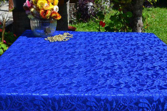 Toalha de Mesa Quadrada 4 Lugares de Renda Azul