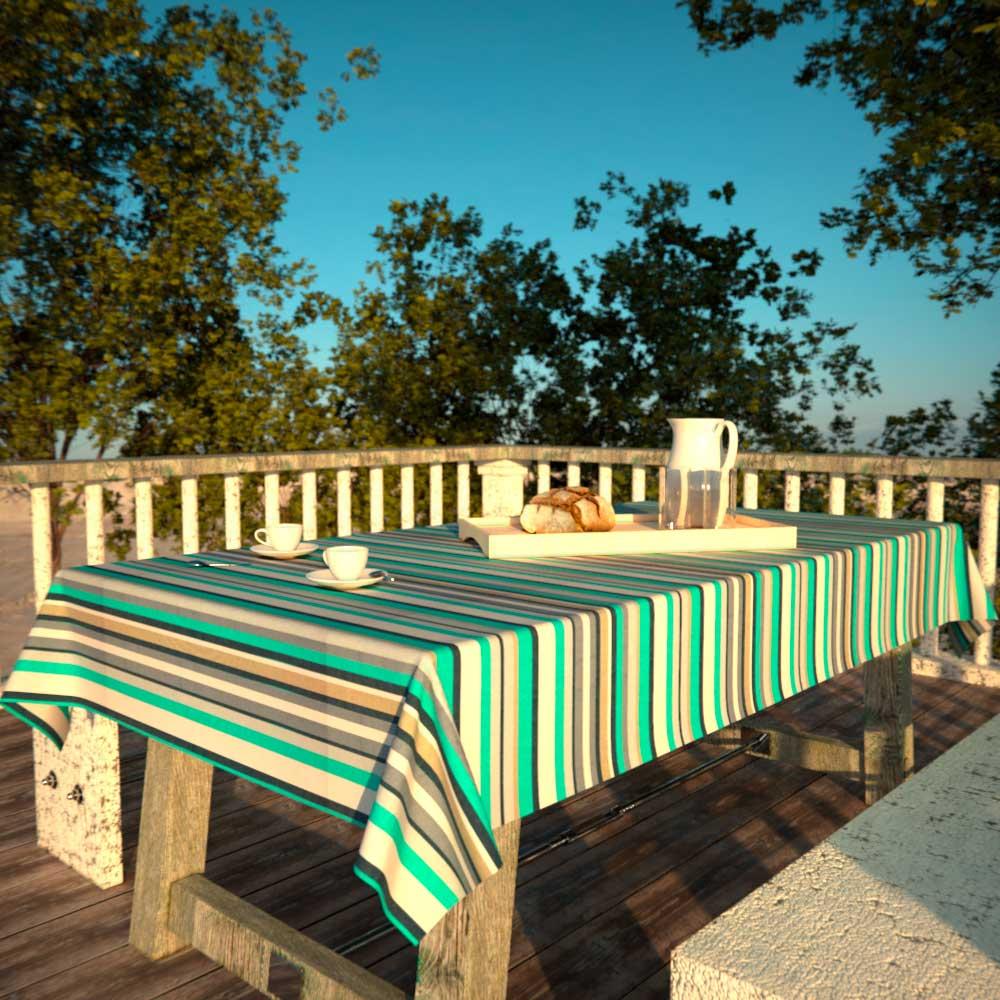 Toalha de Mesa Quadrada 4 Lugares Impermeável Listrada Verde