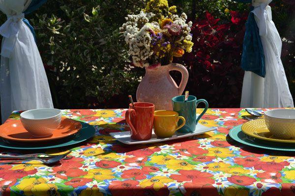Toalha de Mesa Quadrada 4 Lugares Pintura Floral