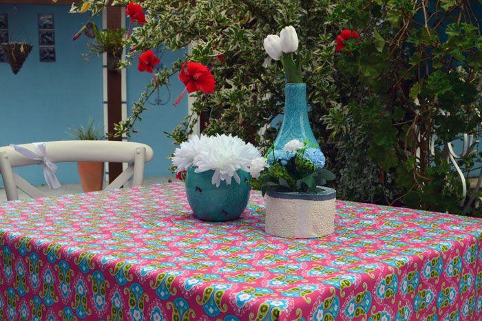 Toalha de Mesa Quadrada 4 Lugares Rosa Chique