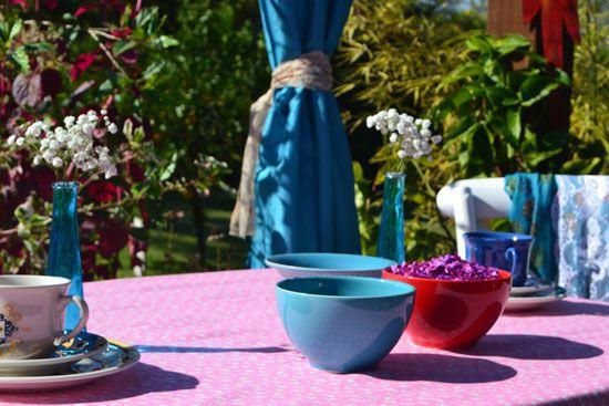 Toalha de Mesa Quadrada 4 Lugares Rosa Floral Garden