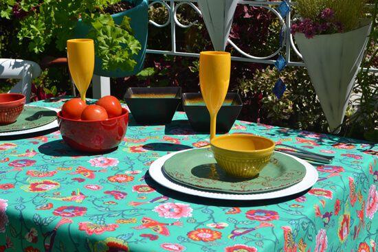 Toalha de Mesa Quadrada 4 Lugares Verde Floral