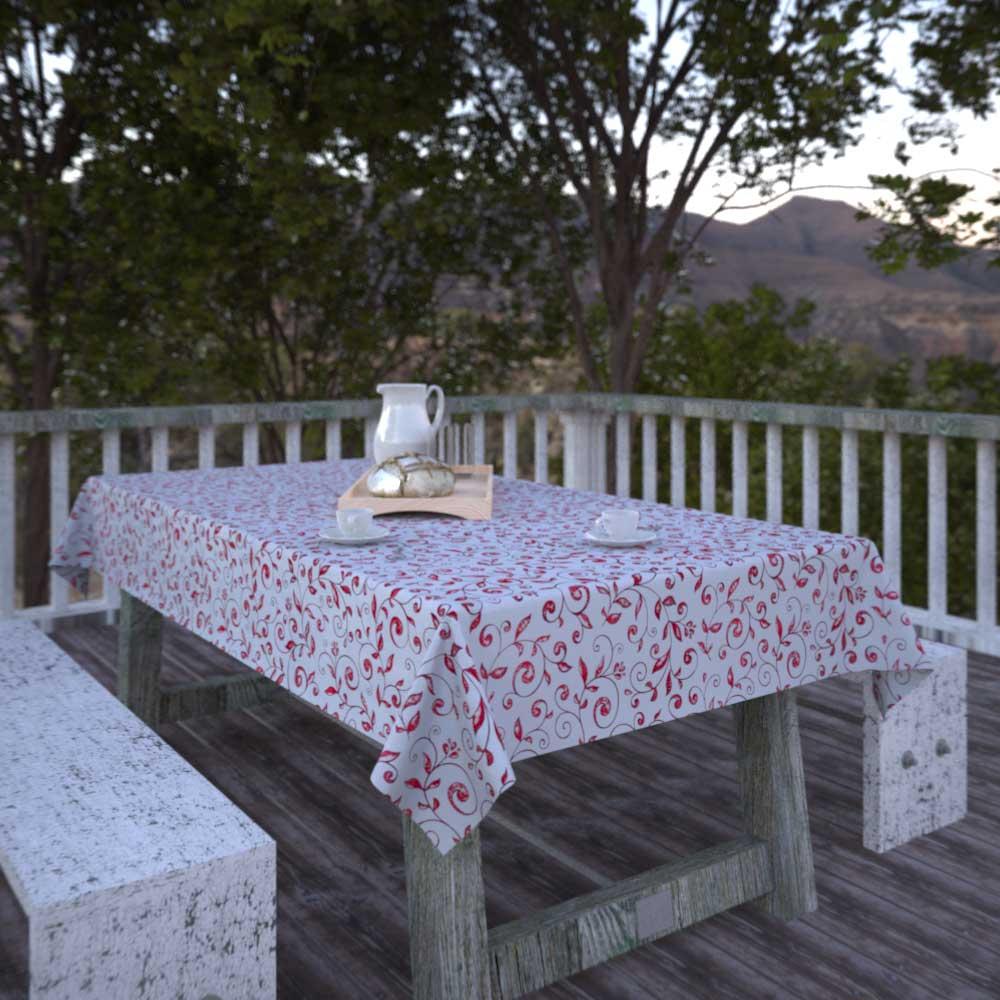 Toalha de Mesa Quadrada 6 Lugares Branca com Folhas Vermelhas