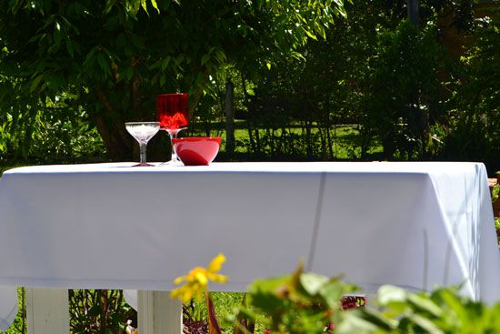 Toalha de Mesa Quadrada 6 Lugares Branca Oxford Luar